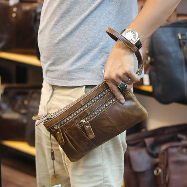 Túi da nam cầm tay Lano thời trang cao cấp CLT21