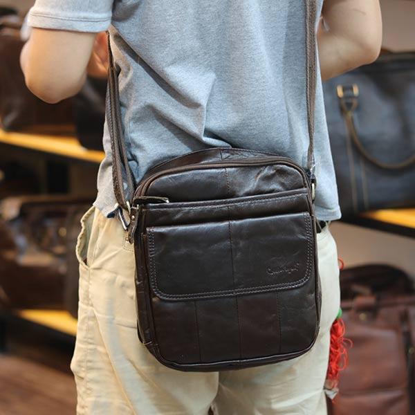 Túi da nam đeo chéo Lano da bò thật KT158