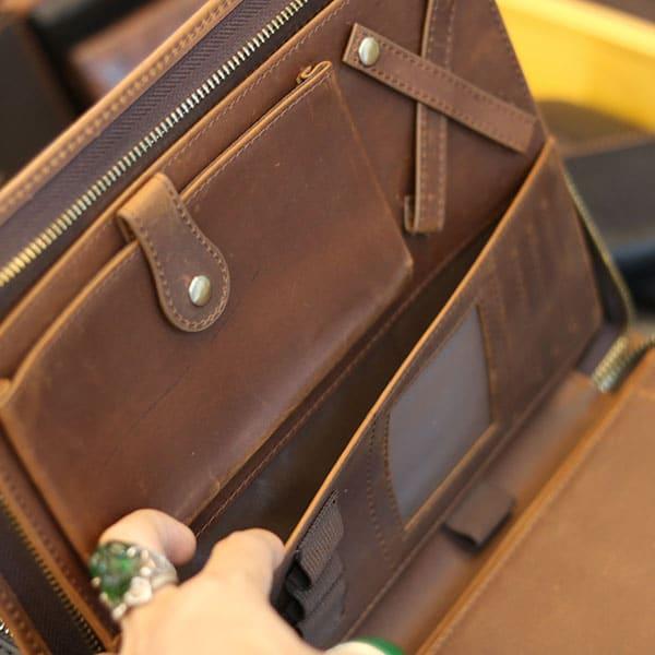 Túi da nam cầm tay vừa ipad 10.5 inch mẫu mới 2019