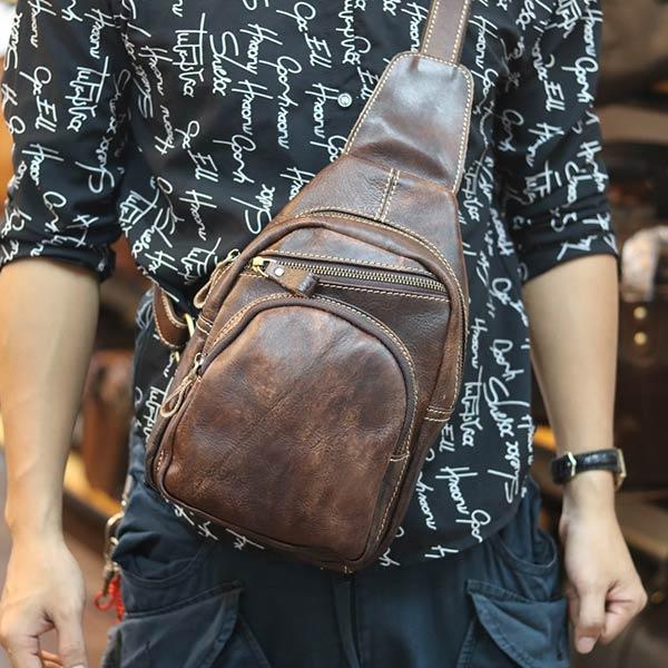 Túi da đeo chéo ngực nam thời trang mới 2019 TDL66