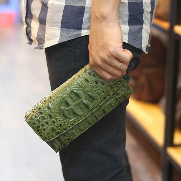 Ví da cá sấu cầm tay cao cấp 3 gấp loại nhỏ VCSCT03