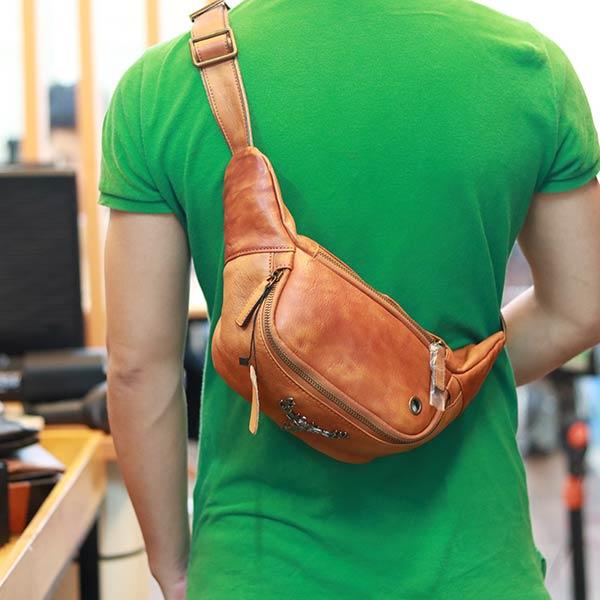 Túi bao tử nam da bò cao cấp đeo bụng đeo chéo thời trang TDB015