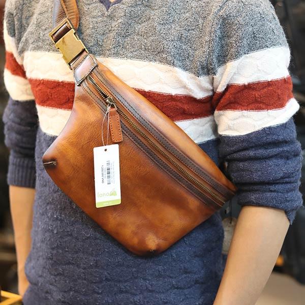 Túi da nam đeo bao tử thời trang đeo chéo mẫu mới TDB018