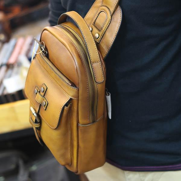 Túi da nam đeo ngực da bò nhập khẩu đẹp độc lạ TDL73