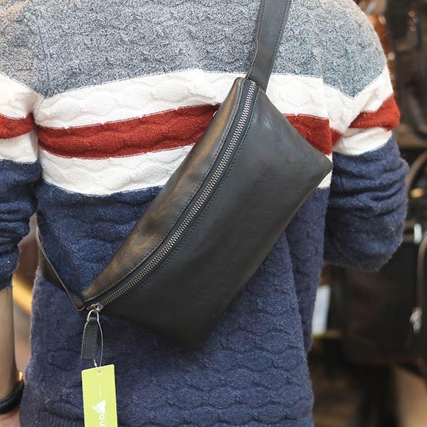 Túi đeo bao tử nam da bò thật thời trang lịch lãm TDB017