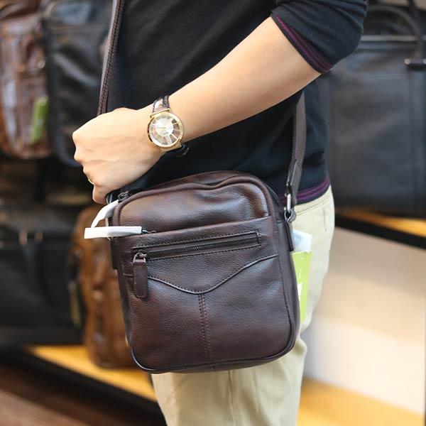 Túi đeo chéo nam mini da bò nhập khẩu nhiều ngăn tiện lợi KT174