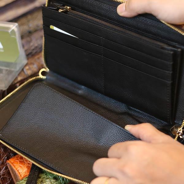 Ví cầm tay da cá sấu hàng xuất khẩu 1 khóa kèo lồi VCSCT09