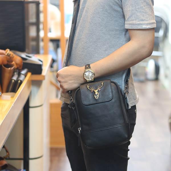 Túi đeo ngực da bò kết hợp đeo chéo nam sang trọng gọn nhẹ mới 2020 TDL78