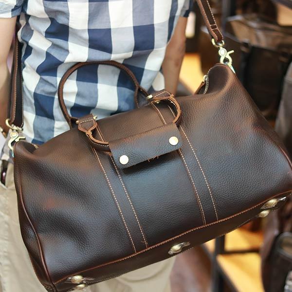 Túi trống du lịch nam da bò nguyên miếng thời trang tiện lợi TT25