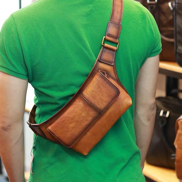 Túi đeo bao tử nam da bò nhỏ gọn tiện lợi tdb021