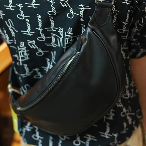 Túi da bao tử kết hợp đeo chéo thời trang nam tính Lano TDB024